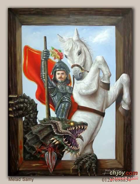 الشهيد مار جرجس لوحة جديدة  للفنان ميلاد سامى
