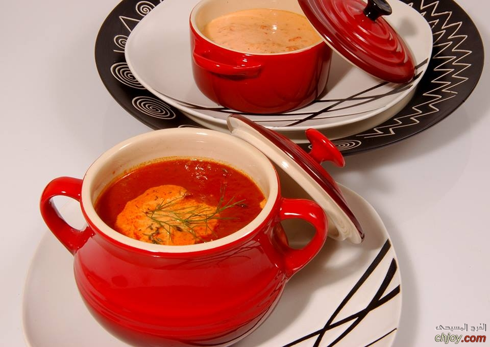 شوربة الطماطم المشوية مع كريمة الفلفل دايت