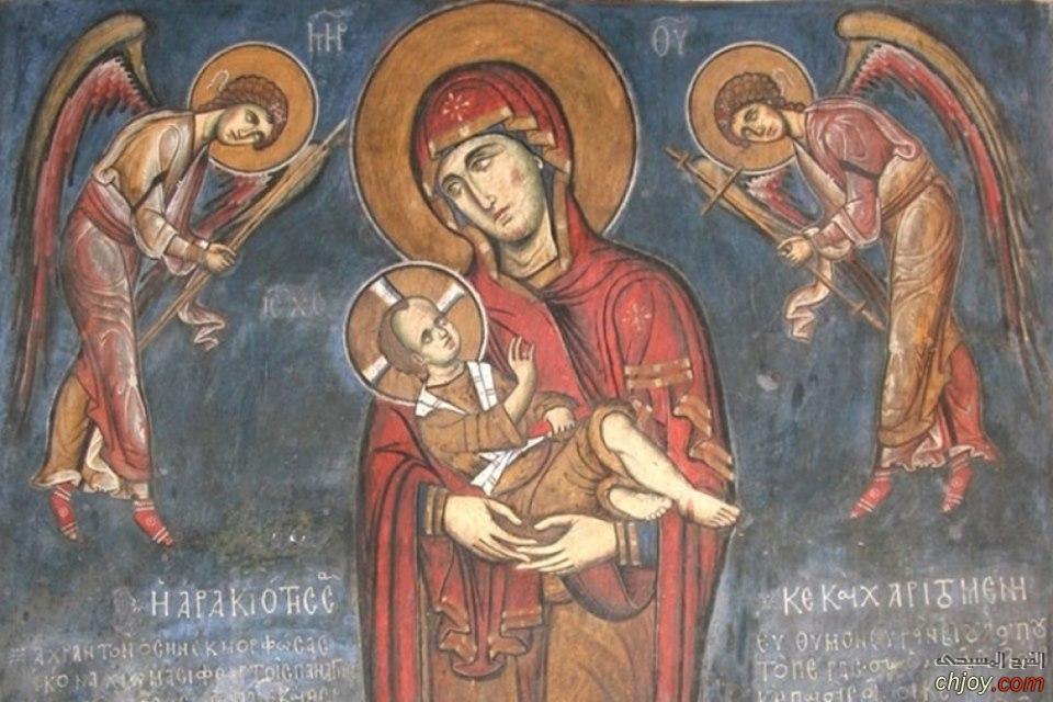 أيقونة نادرة للسيد المسيح مع العذراء مريم