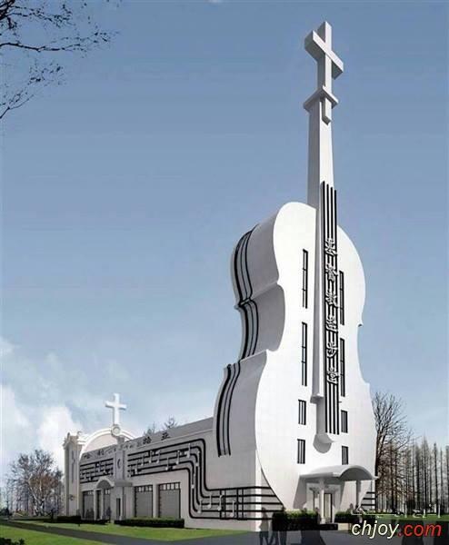 كنيسة في الصين على شكل آلة الكمان الموسيقية
