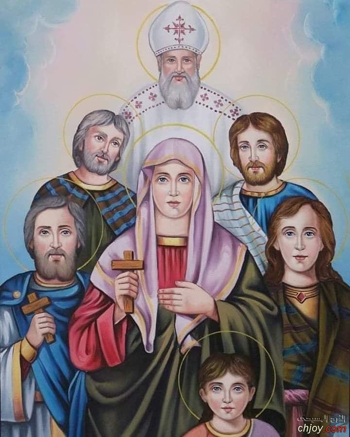 الشهيدة العفيفة القديسة رفقة واولادها الخمسة 👑