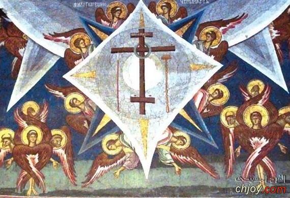 ايقونة نادرة للملائكة تحمل الصليب