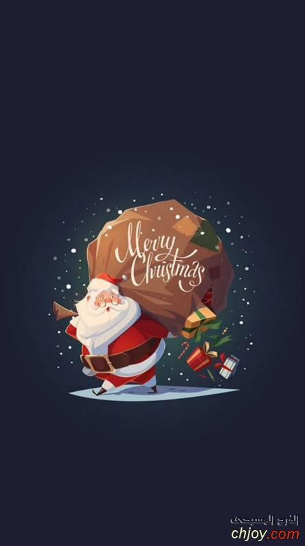 خلفية موبايل سانتا كلوز وهدايا الكريسماس
