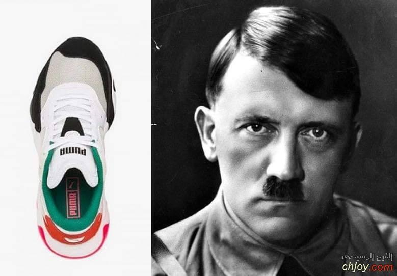 حذاء رياضى  شكله من الأعلى يشبه ملامح هتلر