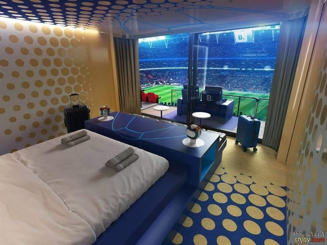 غرفة فندقية في ملعب ويمبلي(رفاهية المشاهدة خيالية ♥️)