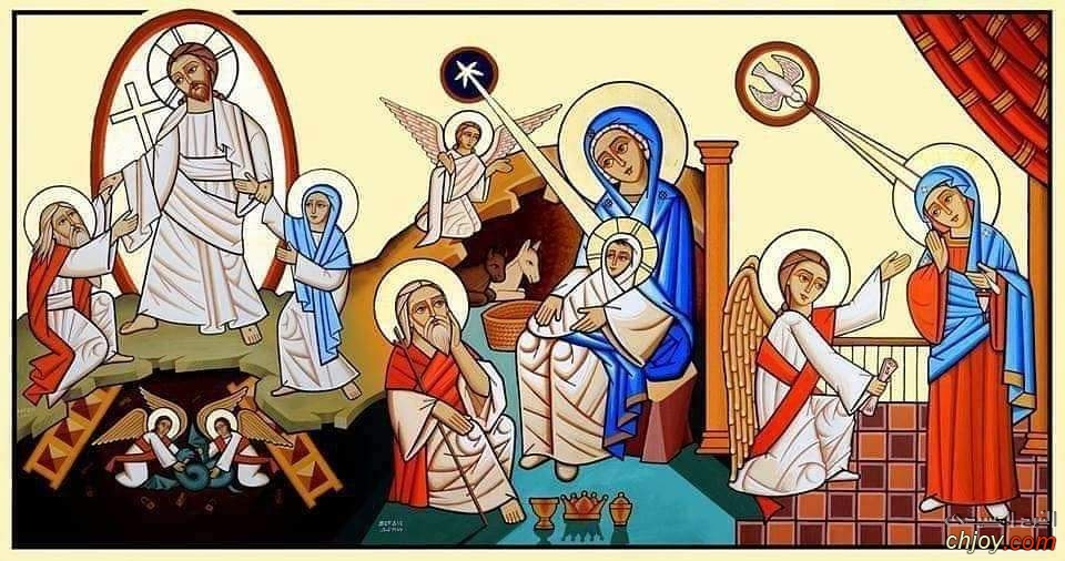 ايقونة تجمع تذكار الاعياد الثلاثة البشارة والميلاد والقيامة