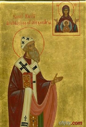 الأيقونة للقديس البابا كيرلس أمام أيقونة العذراء مريم